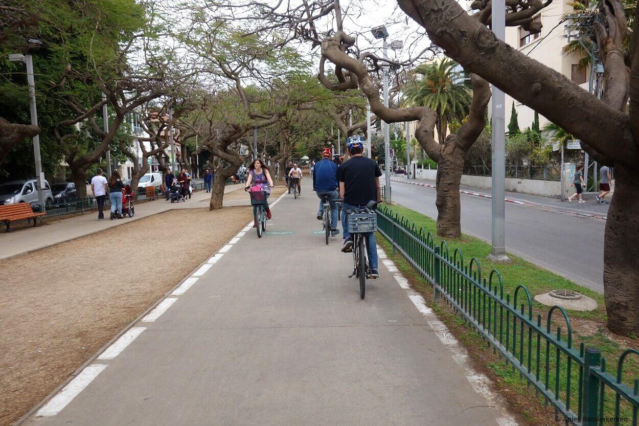 Cycling at Rothschild Blvd. Tel Aviv