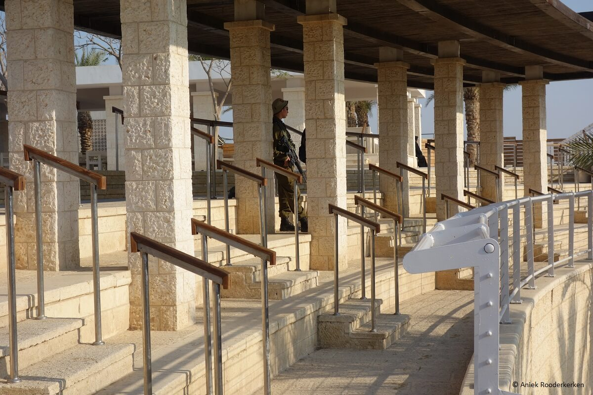 A soldier guards Qasr-el-Yahud, the biblical site by the Jordan River where the baptism of Jesus by John the Baptist took place.