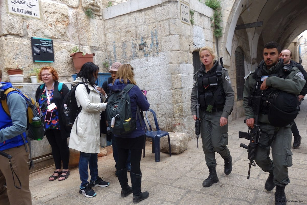 Israeli soldiers in the streets of Jerusalem