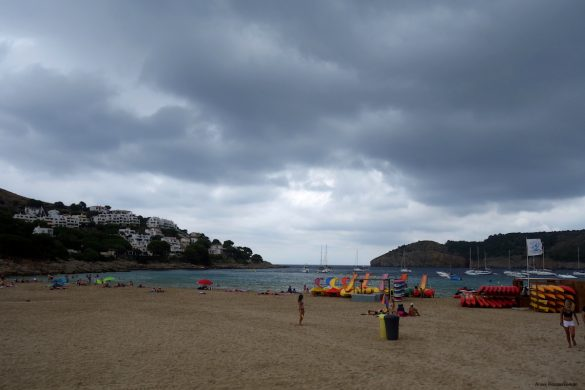 When I arrive at the coastal village of L'Escala there is a threatening cloud in the bay.