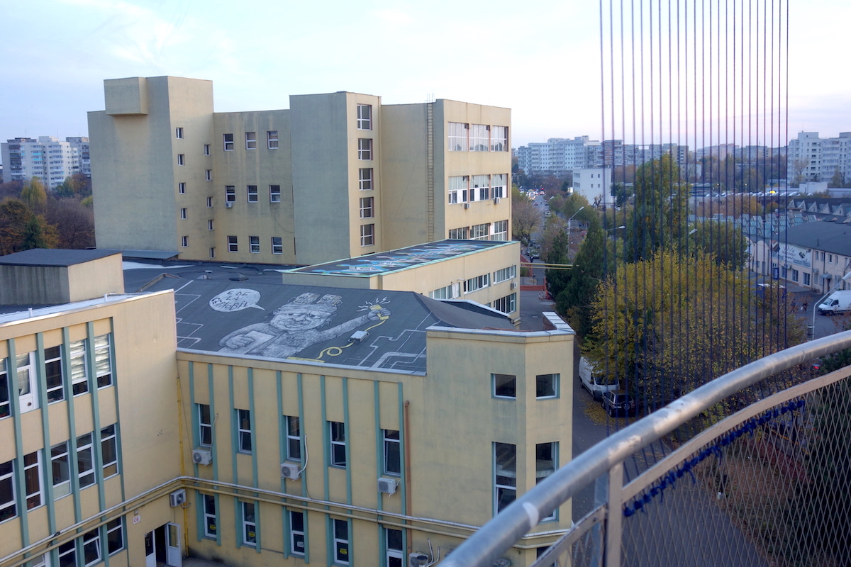 View at the street art from Pantelimon water tower in Bucharest, Romania