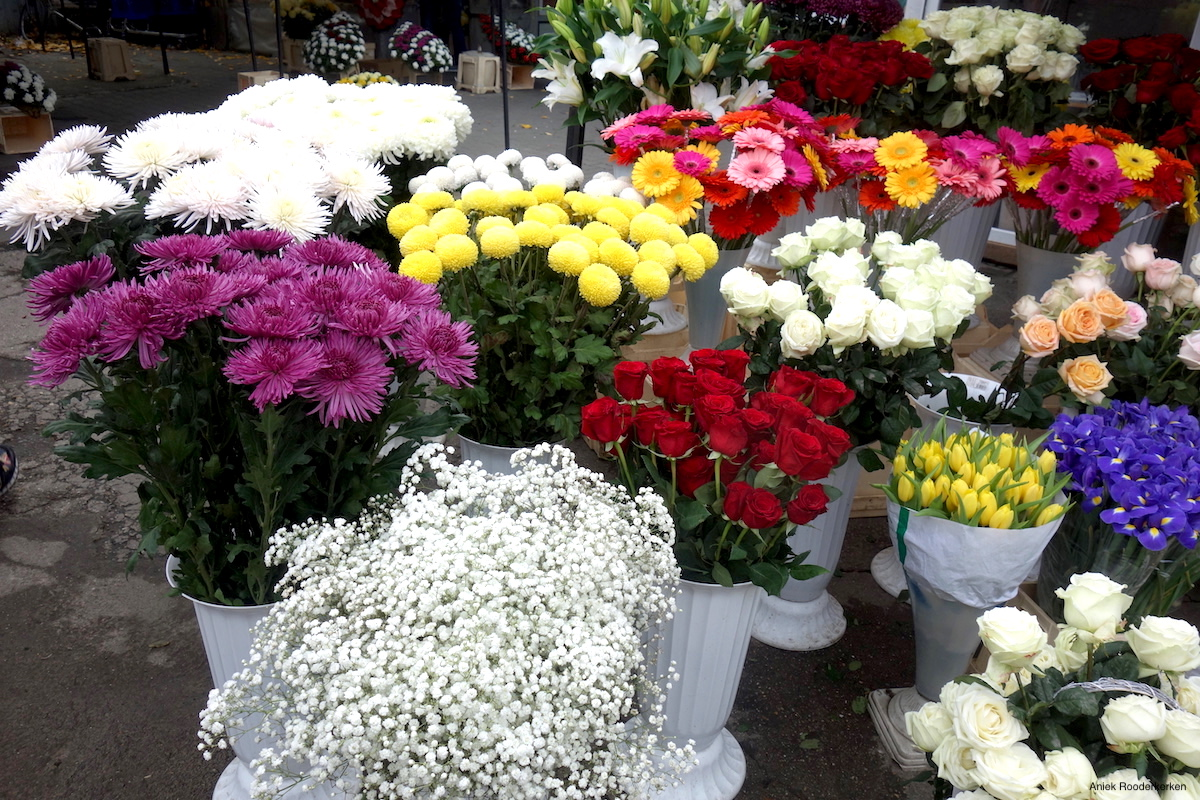 Colorful flowers on the flower market
