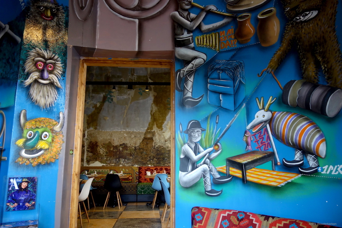Murals at Mahala restaurant in Bucharest