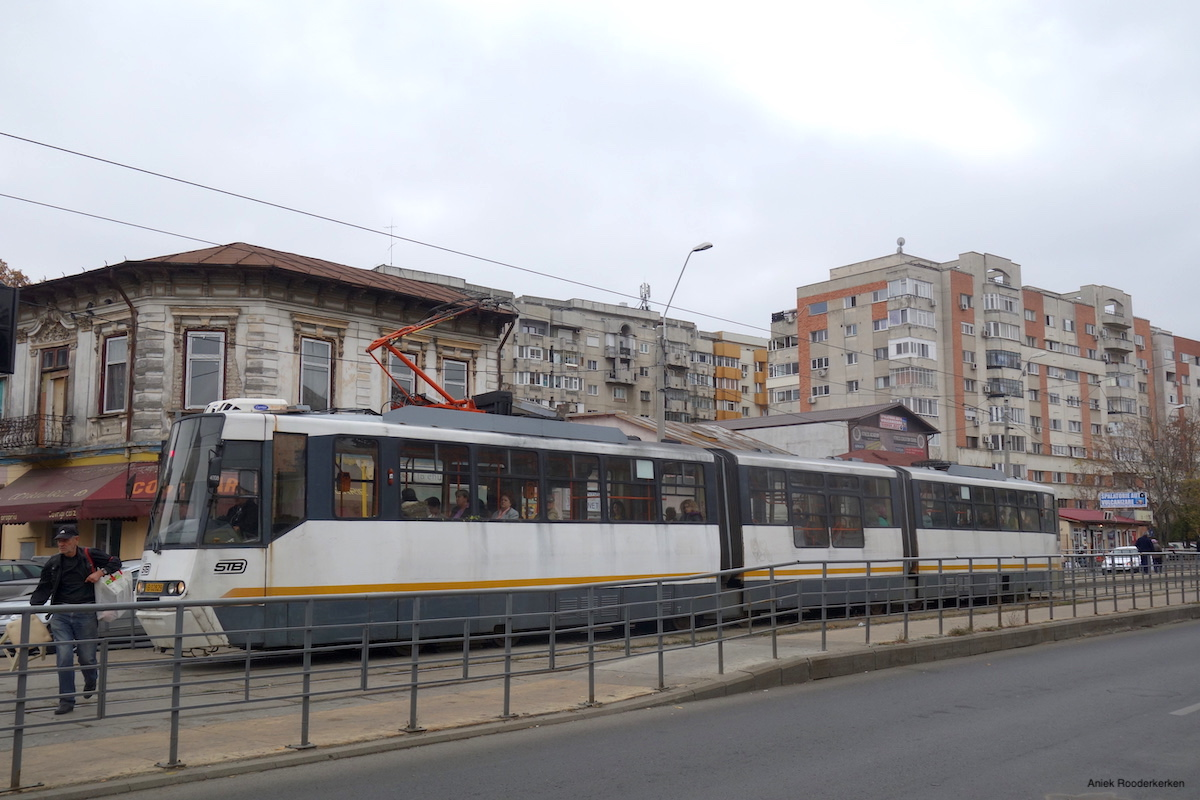A tram in the streets of Bucharest, Romania